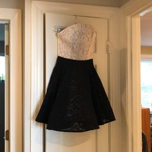 ABS strapless lace two-tone party dress